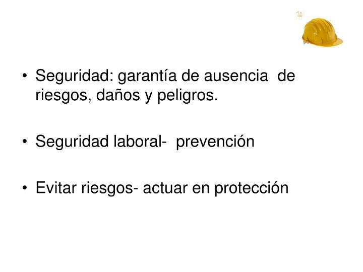 Seguridad: garantía de ausencia  de riesgos, daños y peligros.