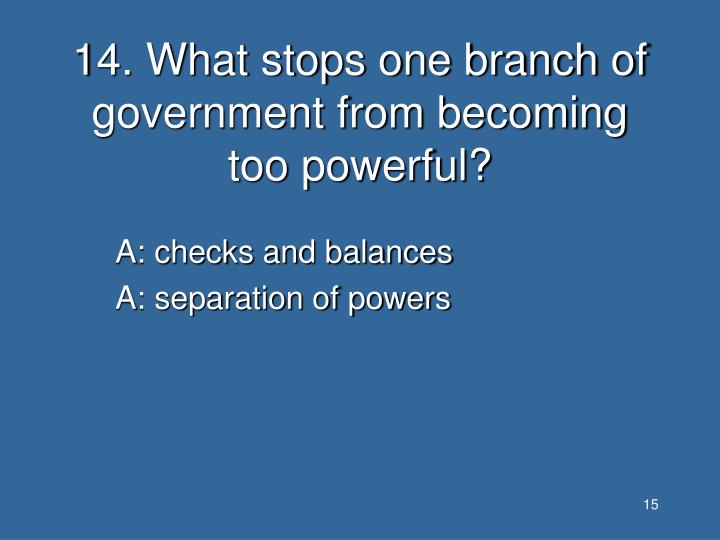 14. What stops one branch of government from becoming too powerful?
