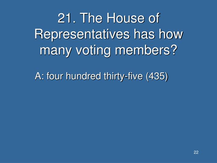 21. The House of Representatives has how many voting members?