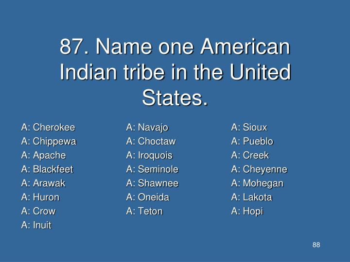 87. Name one American Indian tribe in the United States.