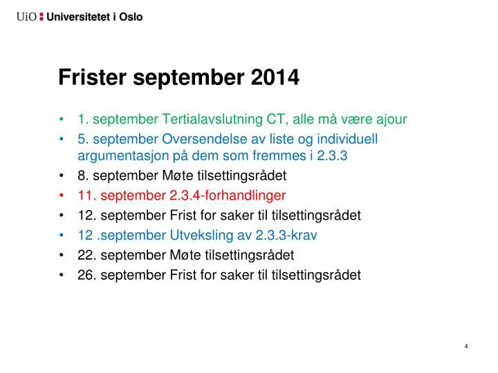 Frister september 2014