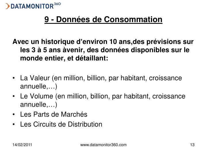 9 - Données de Consommation