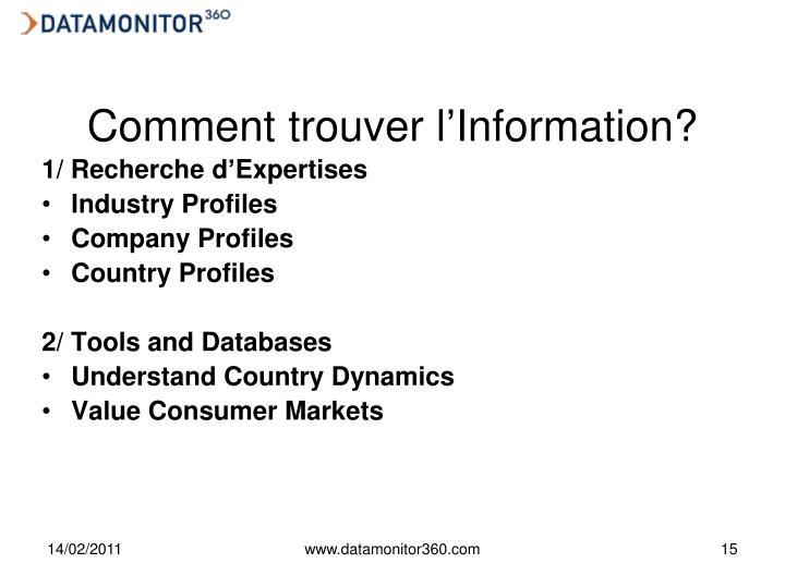 Comment trouver l'Information?