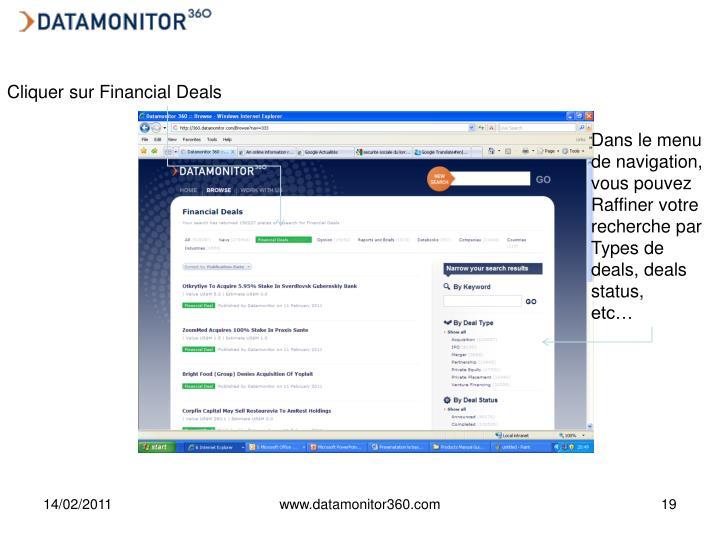 Cliquer sur Financial Deals