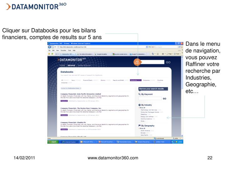 Cliquer sur Databooks pour les bilans financiers, comptes de results sur 5 ans