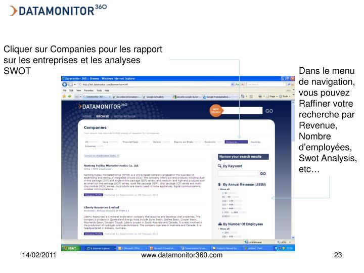 Cliquer sur Companies pour les rapport sur les entreprises et les analyses SWOT