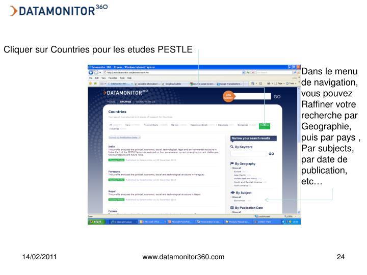 Cliquer sur Countries pour les etudes PESTLE