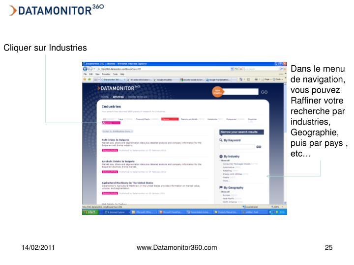 Cliquer sur Industries