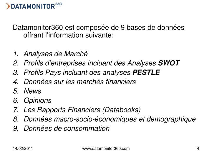 Datamonitor360 est composée de 9 bases de données