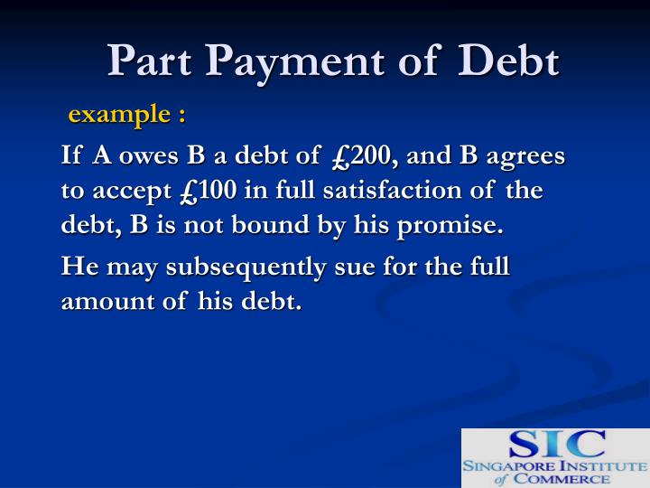 Part payment of debt1