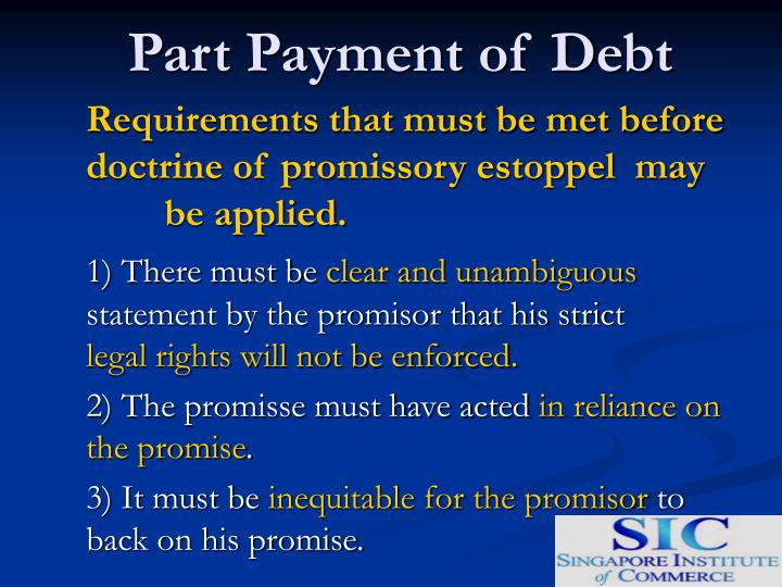 Part Payment of Debt