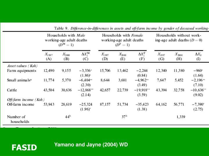 Yamano and Jayne (2004) WD