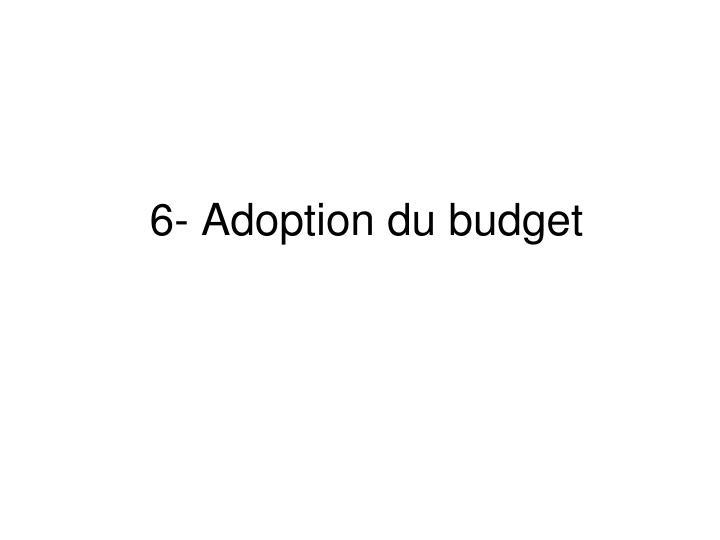 6- Adoption du budget