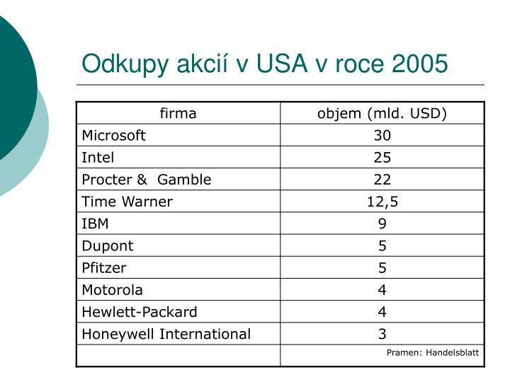 Odkupy akcií v USA v roce 2005