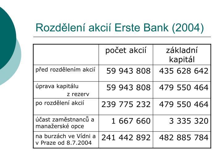 Rozdělení akcií Erste Bank (2004)