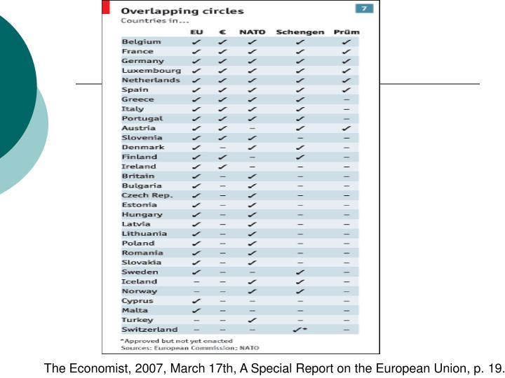 The Economist, 2007, March 17th, A Special Report on the European Union, p.