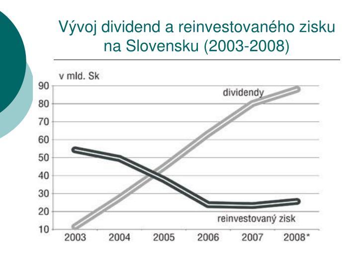 Vývoj dividend a reinvestovaného zisku na Slovensku (2003-2008)