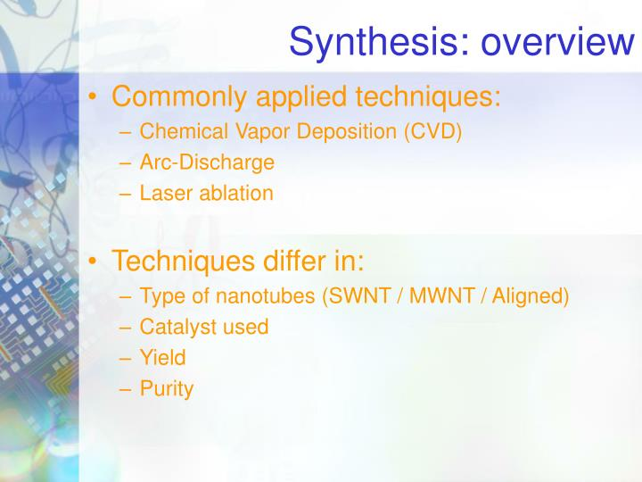 Synthesis: overview