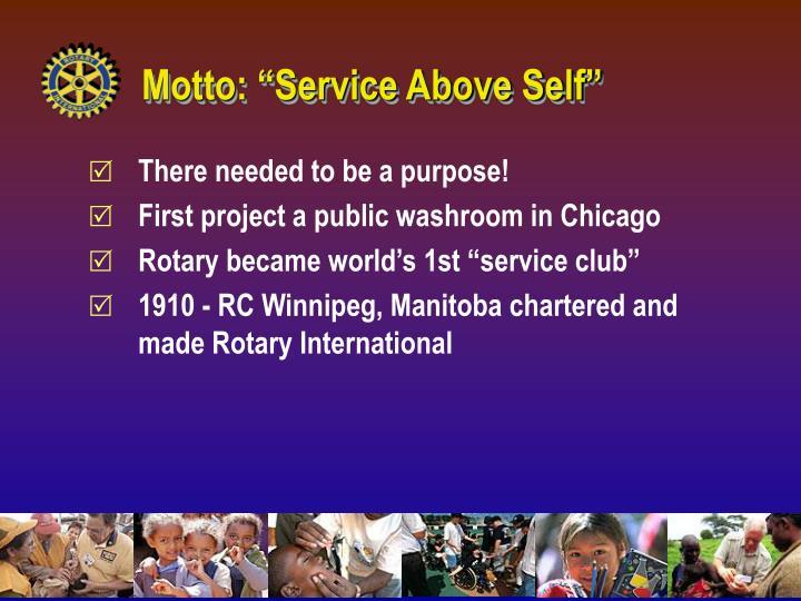 """Motto: """"Service Above Self"""""""