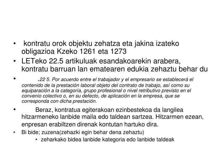 kontratu orok objektu zehatza eta jakina izateko obligazioa Kzeko 1261 eta 1273