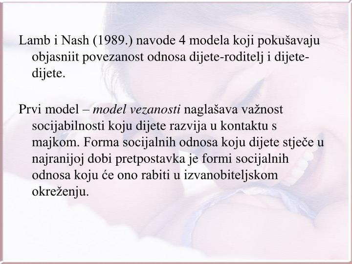 Lamb i Nash (1989.) navode 4 modela koji pokušavaju objasniit povezanost odnosa dijete-roditelj i dijete-dijete.