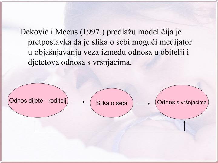 Deković i Meeus (1997.) predlažu model čija je pretpostavka da je slika o sebi mogući medijator u objašnjavanju veza između odnosa u obitelji i djetetova odnosa s vršnjacima.