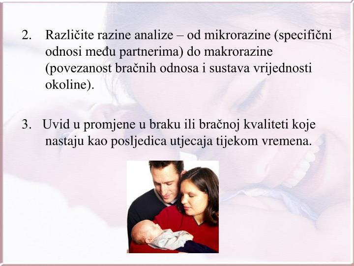 Različite razine analize – od mikrorazine (specifični odnosi među partnerima) do makrorazine             (povezanost bračnih odnosa i sustava vrijednosti okoline).