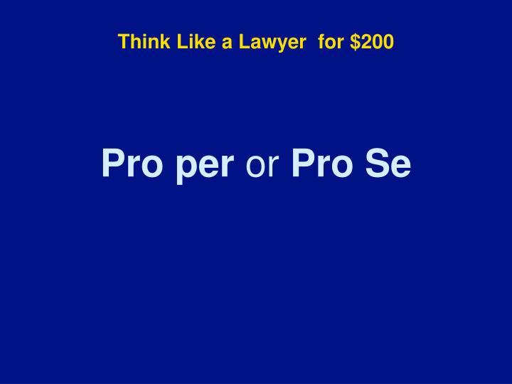Think Like a Lawyer
