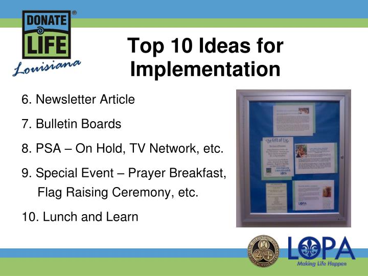 Top 10 Ideas for Implementation