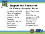 support and resources lha website campaign section