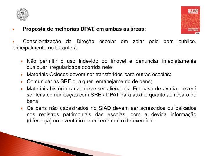 Proposta de melhorias DPAT, em ambas as áreas: