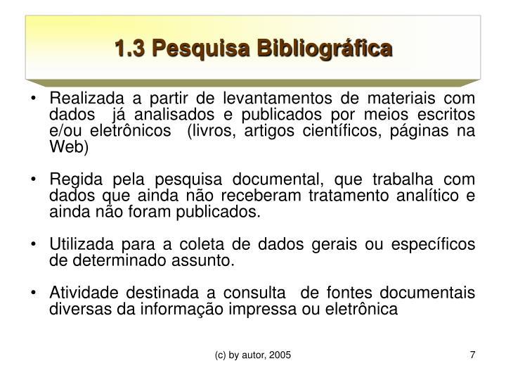 1.3 Pesquisa Bibliográfica