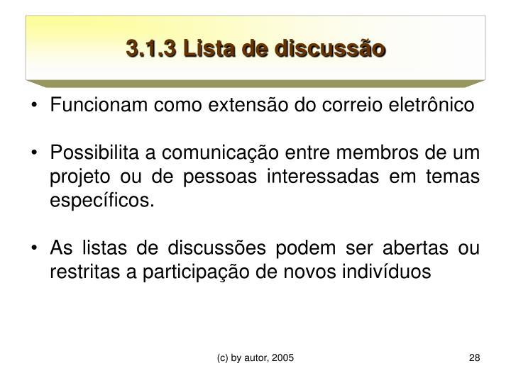 3.1.3 Lista de discussão
