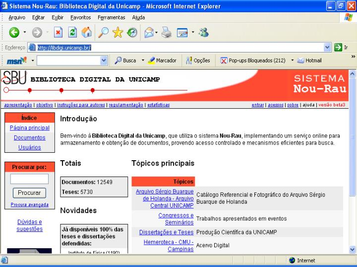 4.4.1 Exemplo de Biblioteca Digital