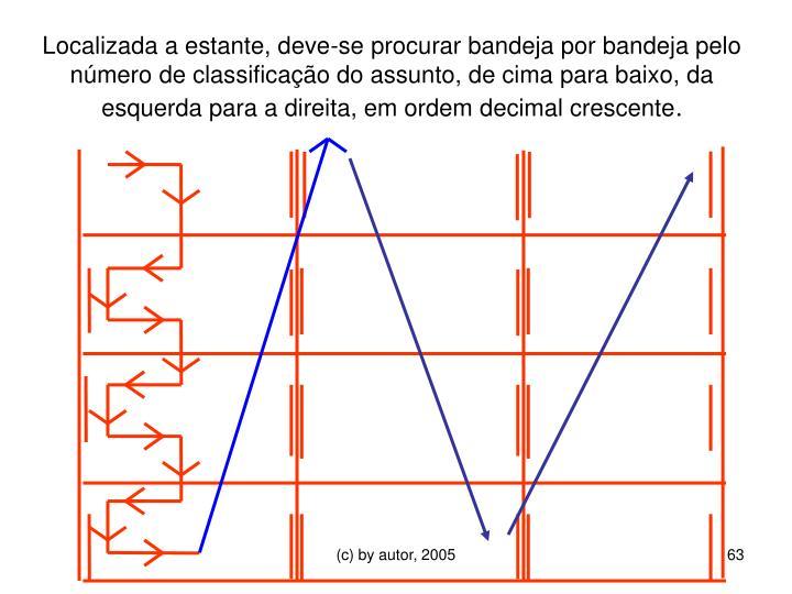 Localizada a estante, deve-se procurar bandeja por bandeja pelo número de classificação do assunto, de cima para baixo, da esquerda para a direita, em ordem decimal crescente