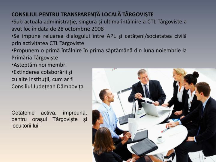 CONSILIUL PENTRU TRANSPARENȚĂ LOCALĂ TÂRGOVIȘTE