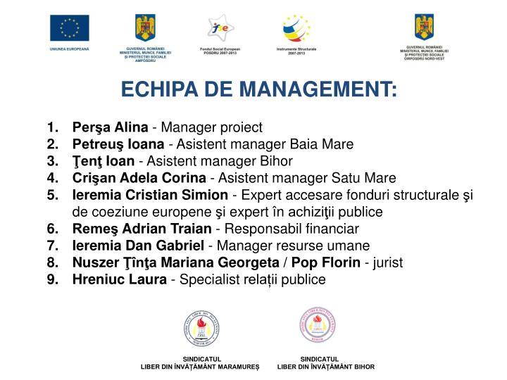 ECHIPA DE MANAGEMENT: