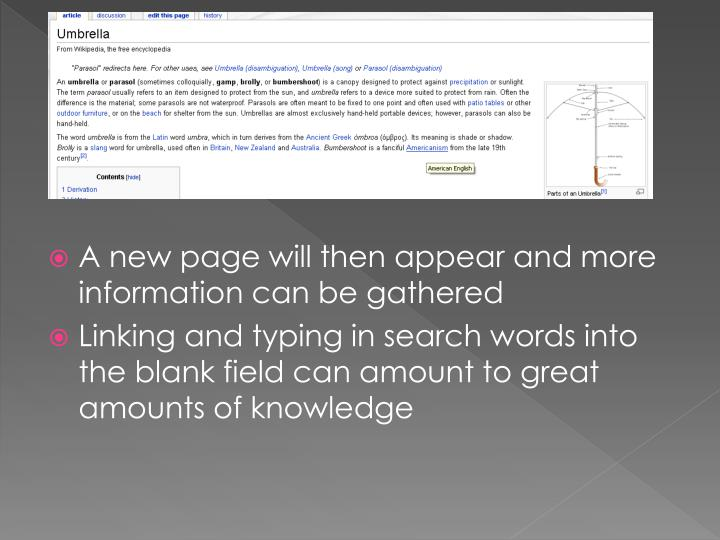 A new page will then appear and more information can be gathered