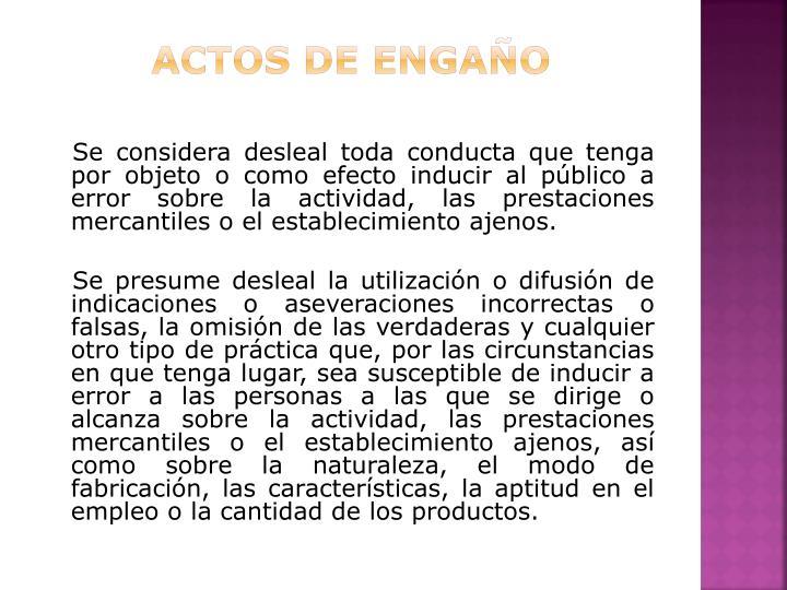 ACTOS DE ENGAÑO