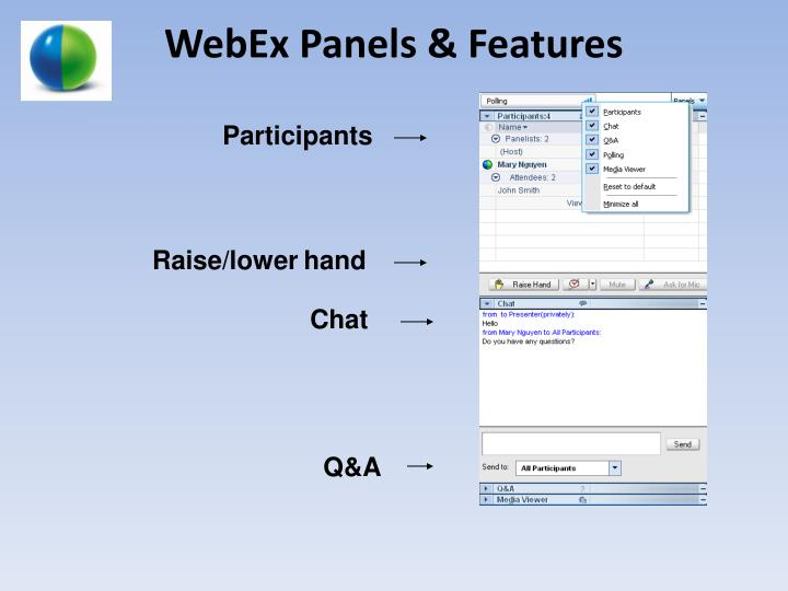 Webex panels features