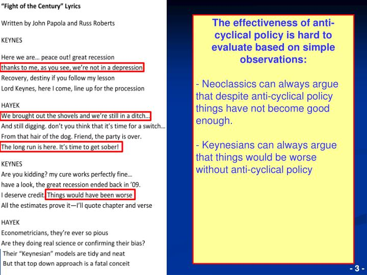 The effectiveness of anti-cyclical policy is hard to evaluate based on simple observations: