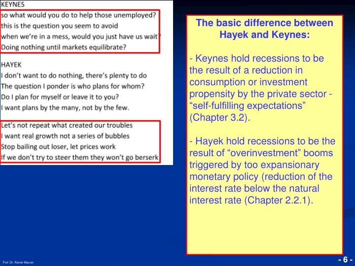 The basic difference between Hayek and Keynes: