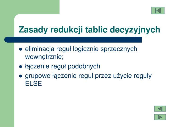 Zasady redukcji tablic decyzyjnych