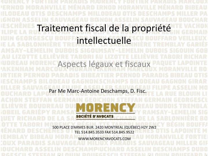 Traitement fiscal de la propri t intellectuelle