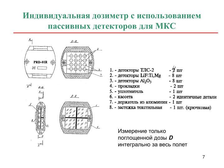 Индивидуальная дозиметр с использованием пассивных детекторов для МКС