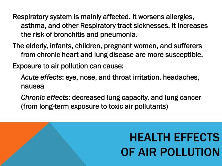 health effects of air pollution Health and the environment draft road map for an enhanced global response to the adverse health effects of air pollution report by the secretariat 1.