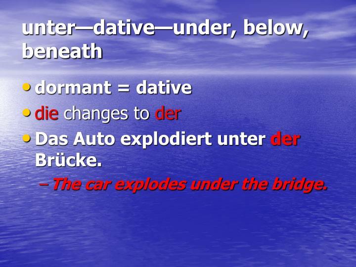 unter—dative—under, below, beneath