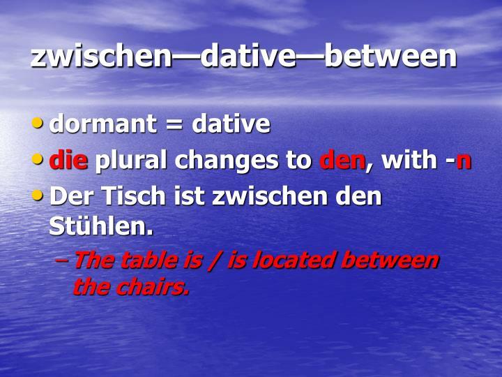 zwischen—dative—between