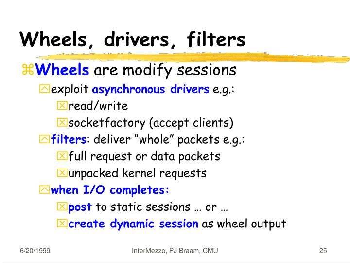 Wheels, drivers, filters