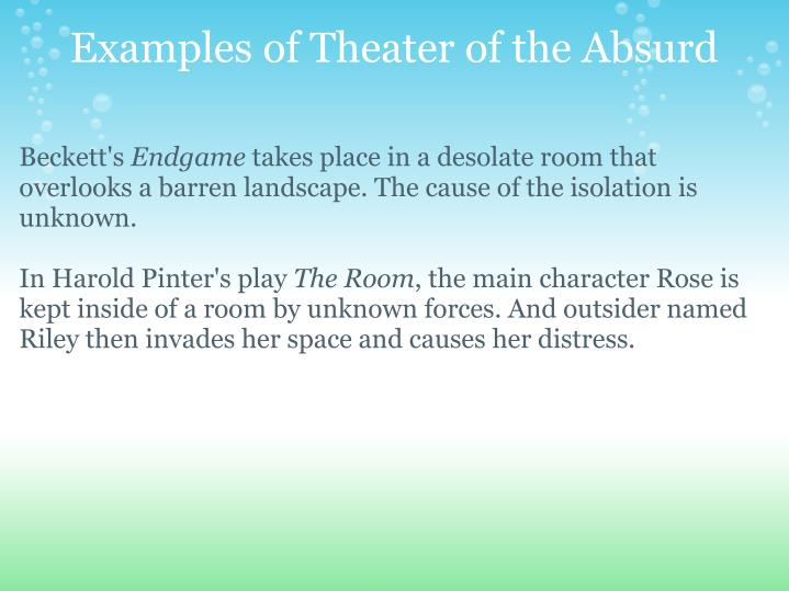 an analysis of theatre of the absurb Scenes from the denver center theatre company's production of absurd person singular by alan ayckbourn directed by sabin epstein running november 13 - decemb.